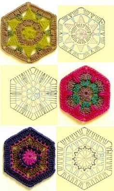 great site for granny square patterns Crochet Diy, Crochet Motifs, Crochet Blocks, Crochet Diagram, Crochet Chart, Crochet Squares, Love Crochet, Crochet Stitches, Crochet Patterns