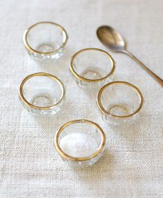 Set of 5 Vintage Glass Salt Cellars with Gold by FrogGoesToMarket, $24.00