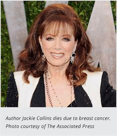 Jackie Collins Succumbs to Breast Cancer. Author encouraged women to get regular checkups.