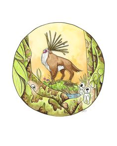 Princess Mononoke  Forest Spirit  Watercolor and by LyndaParkerArt