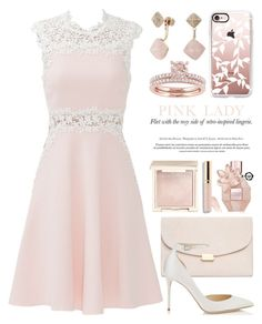 """""""I wear pink... 2345"""" by boxthoughts ❤ liked on Polyvore featuring Giambattista Valli, Mansur Gavriel, Jimmy Choo, Michael Kors, Casetify, Jouer, Beautycounter and Viktor & Rolf"""