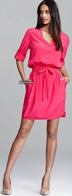 DKNY Three Quarter Sleeve V Neck Shirt Dress