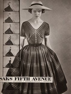 A full skirted frock from Saks Fifth Avenue, 1950s.