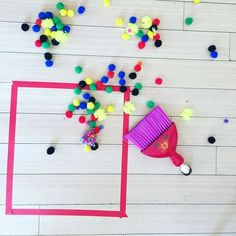 Sweep pompoms into a square, Montessori activities for toddlers,