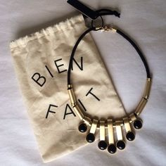 Madewell statement necklace Brass and black Madewell necklace Madewell Jewelry Necklaces