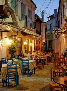 Dinner in Kokkari -a village on Samos Island, Greece Wonderful Places, Beautiful Places, Samos Greece, Santorini Greece, Places To Travel, Places To Visit, Zakynthos, Kusadasi, Greece Islands