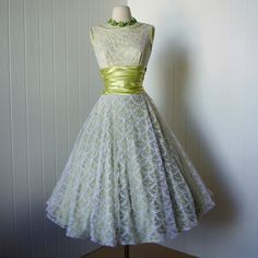 gorgeous chartreuse satin and scalloped mermaid scales lace prom cocktail party pin-up dress with a full circle skirt .