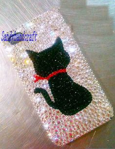 cat iPhone case swarovski crystals iPhone 4 case cute black cat iPhone 5 case samsung galaxy s4 cute bling case galaxy s3 cover htc one S on Etsy, $22.80