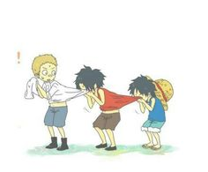 Sabo, Ace, Luffy, young, childhood, funny, cute, cleaning, face; One Piece