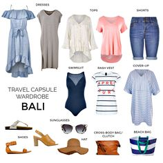 Heading on holidays to Bali? Don't leave home without taking on board these 9 tips for how to pack and plan for a holiday in Bali. Cute Travel Outfits, Travel Packing Outfits, Cruise Outfits, Packing Lists, Travel Capsule, Vacation Packing, Vacation Outfits, Capsule Outfits, Capsule Wardrobe
