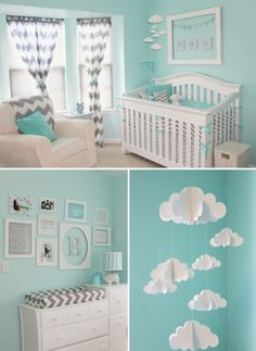 Pretty blue x gray chevron nursery room design