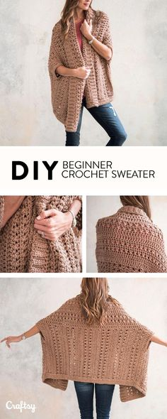 Beginner Sweater Projects - Pattern & Yarn Mailed to You! Beginner Sweater Projects - Pattern & Yarn Mailed to You! Diy Crochet Cardigan, Crochet Shrug Pattern, Crochet Jacket, Crochet Shawl, Easy Crochet, Crochet Sweaters, Free Pattern, Crochet Clothes, Woman Clothing