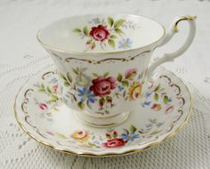 Royal Albert Jubilee Rose Tea Cup and Saucer Bone by TheAcreage