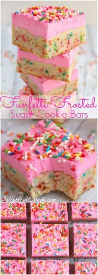 Thick, chewy sugar cookie bars loaded with sprinkles and topped with a thick layer of rich butter cream frosting.  So good, you won't be able to eat just one!