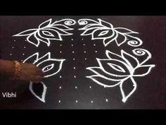 lotus flower kolam designs with dots for pongal Simple Rangoli Border Designs, Rangoli Designs Latest, Rangoli Designs Flower, Rangoli Borders, Rangoli Patterns, Rangoli Kolam Designs, Rangoli Ideas, Rangoli Designs With Dots, Flower Rangoli