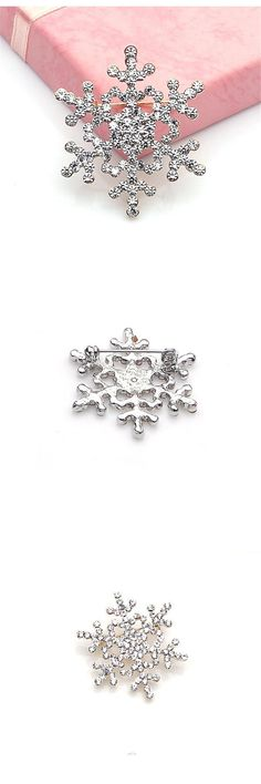 Best Price Fashion Brooch Pin Crystal Rhinestone Large Snowflake Winter Snow  Theme