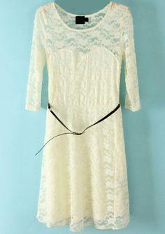 Vestido encaje con cinturón-Blanco EUR€22.78