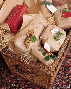 "See the ""Kraft Paper Gift Wrap"" in our Gift-Wrapping Ideas gallery - I have always been a fan of those 'brown paper packages tied up with string'. Christmas Gift Wrapping, Christmas Presents, Christmas Holidays, Christmas Crafts, Country Christmas, Christmas Packages, Holiday Gifts, Christmas Tree, Natural Christmas"