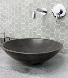 $280 .Stone GREY Charcoal Black MARBLE Round Bowl Counter Top Basin Vanity Bowl MATTE