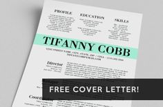Resume & FREE Cover Letter - Word Template - The Tifanny Cobb