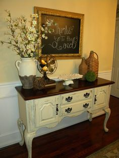 Anne Sloan Chalk Paint Buffet  Vika's bedroom set - distressed white over carvings and maybe a black top?
