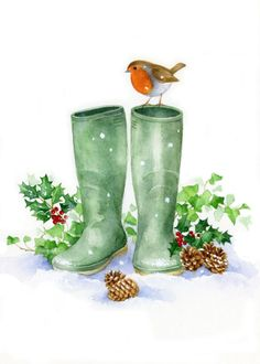 Lisa Alderson LA Robin And Wellies Copy: Alderson Copy La Lisa Robin Wellies Christmas Images, Christmas Art, All Things Christmas, Vintage Christmas, Christmas Holidays, Christmas Decorations, Painted Christmas Cards, Christmas Pictures To Draw, Watercolor Christmas Cards