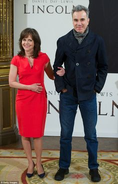 Actress Sally Field, 66 years old, standing next to Daniel Day-Lewis