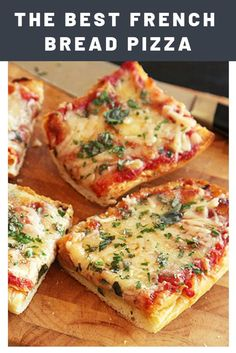 The Best French Bread Pizza Recipe — Classic French bread pizza upgraded with a heavy dose of garlicky butter, two cheeses, and fresh herbs. Vegetarian Recipes, Snack Recipes, Cooking Recipes, Pizza Recipes, Recipe Of Bread Pizza, Bread Sandwich Recipes, Recipes With Bread, Garlic Bread Pizza, Easy Recipes