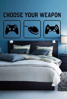 Wall sticker decal choose your weapon gamer quote controller video game boys bedroom in 2019 Teen Boys Room Decor, Boys Game Room, Boys Bedroom Decor, Teenage Boy Rooms, Bedroom Ideas, Game Boy, Gamer Bedroom, Game Room Design, Boys Room Design