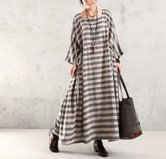 Women Maxi Dress Cotton Linen Dress Plus Size Dress Loose Dress Summer Dress