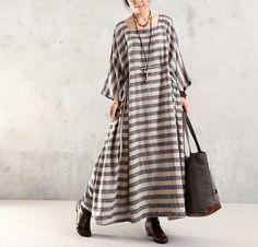 Women Maxi Dress Cotton Linen Dress Plus Size Dress Loose Dress Summer Dress