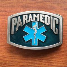 Belt Buckle Paramedic Enameled Silver Blue Star of Life EMS VTG #beltbuckle #ems #paramedic #vintage