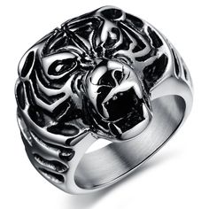 EnM Jewelry Stainless Steel Mens Ring Lion King Vintage Biker Ring, Blak Silver Color, Bold Expressive, 10