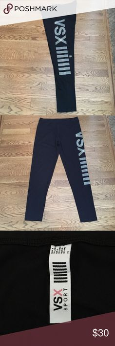 VSX Sport Black Leggings Black and white VSX black leggings. Body loving fit and ultra soft, stretchy fabric these maximize movement. Elastic waistband- waist measures 15 inches in front and inseam is 27 inches. Brand new condition! Victoria's Secret Pants Leggings