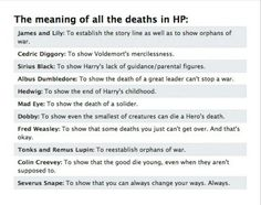 The meaning of the deaths in Harry Potter.