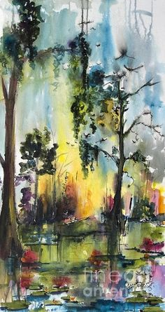 #Okefenokee #watercolor #painting #sunsets #wetland #nature art by loracia