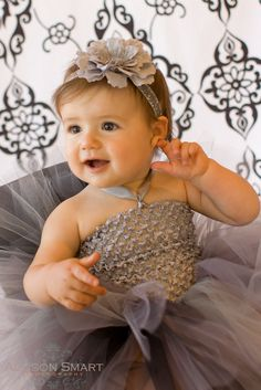 baby girls headband ruffled peony flower on glitter elastic with gray pearl center silver