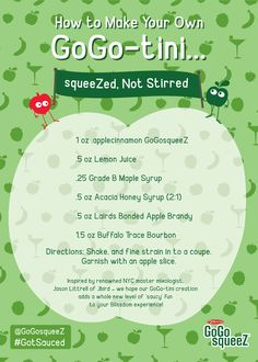 Recipe for a GoGo-Tini made with GoGo squeeZ. Not intended for anyone under 21.
