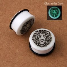 Glow in the dark Lion Face Acrylic single flare o ring ear plugs gauges - 6G: Jewelry: Amazon.com