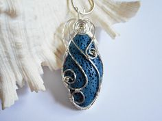 Wire Wrapped Volcano Lava, Handmade Jewelry, Stone Pendant, Marquise Shape Cabochon, Accessories
