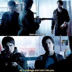 Damon Jeremy and Kol. The one and only time Damon cares that Jeremy is underage.