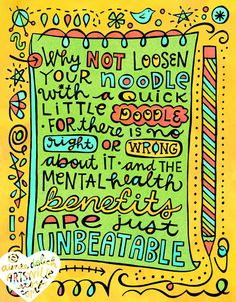 A doodle about doodling. It's the best therapy I know! Illustration and text © Aimee Myers Dolich/Artsyville. artsyville.etsy.com