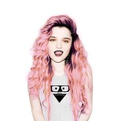 Pastel pink and deep purple grunge hair.
