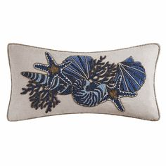 Indigo Sound Boudoir Sea Lives Beaded Embroidered Pillow by C and F *** Want to know more, click on the image. (This is an affiliate link) #DecorativePillowsInsertsandCovers