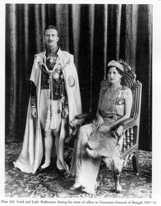 Lord & Lady Brabourne of Brabourne, c. 1937, she wearing her Art Deco tiara, when her husband was Governor of Bengal. (Dowager Lady Brabourne died in the same explosion which killed Lord Mountbatten and their mutual grandson, Nicholas Knatchbull.)