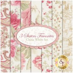 3 Sisters Favorites 7 FQ Set - China White Set by 3 Sisters for Moda Fabric: 3 Sisters Favorites is a collection by Moda Fabrics. 100% Cotton. This set contains 7 fat quarters, each measuring approximately 18