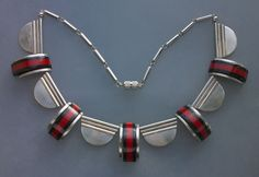 JAKOB BENGEL Attrib.  Art Deco Necklace   Chromium plated brass Galalith  German, c.1932