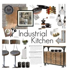 """""""Industrial Kitchen Decor"""" by happilyjynxed ❤ liked on Polyvore featuring interior, interiors, interior design, home, home decor, interior decorating, Dot & Bo, WALL, Pier 1 Imports and Margaret Howell"""