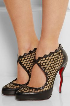 Heel measures approximately 120mm/ 5 inches with a 15mm/ 0.5 inches platform Black leather and net, nude mesh Zip fastening along back