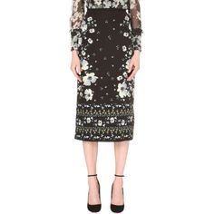ERDEM Maira floral-print silk pencil skirt ($900) ❤ liked on Polyvore featuring skirts, floral pencil skirt, floral knee length skirt, fitted skirts, erdem and floral print skirt